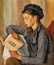 Francesc Domingo Segura Barcelona 1893 - São Paulo 1974 Niño leyendo Óleo sobre lienzo