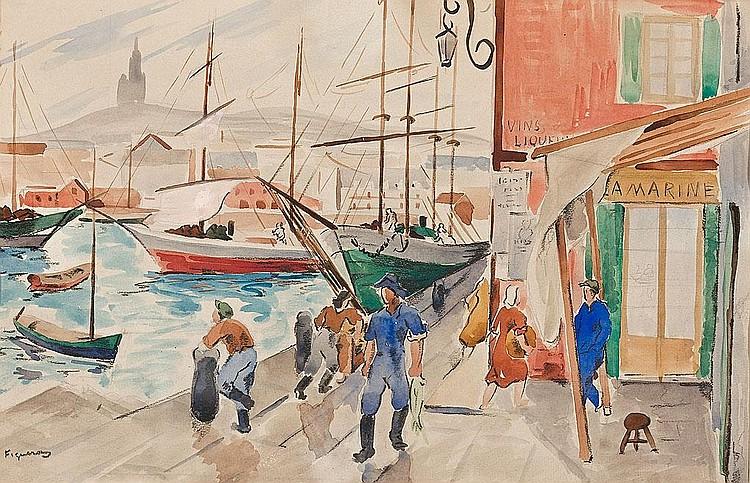 Alfred Figueras   (Sant Fruitós de Bages 1898 - Barcelona 1980)  Escena portuaria