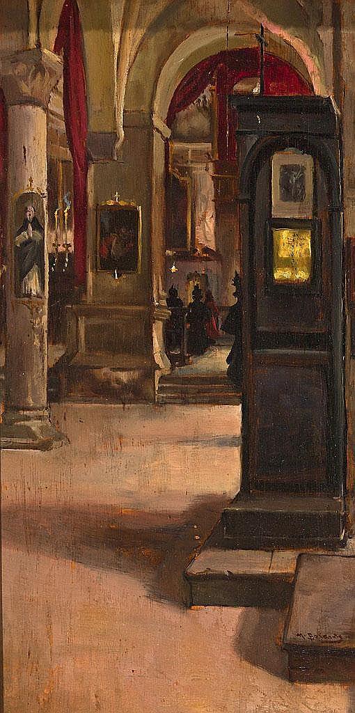 Mateo Balasch   (Sant Andreu de Palomar 1870 - Barcelona 1936)  Interior de iglesia