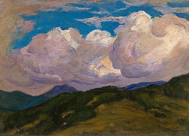 Enric Galwey   (Barcelona 1864 - 1943)  Apunte de paisaje