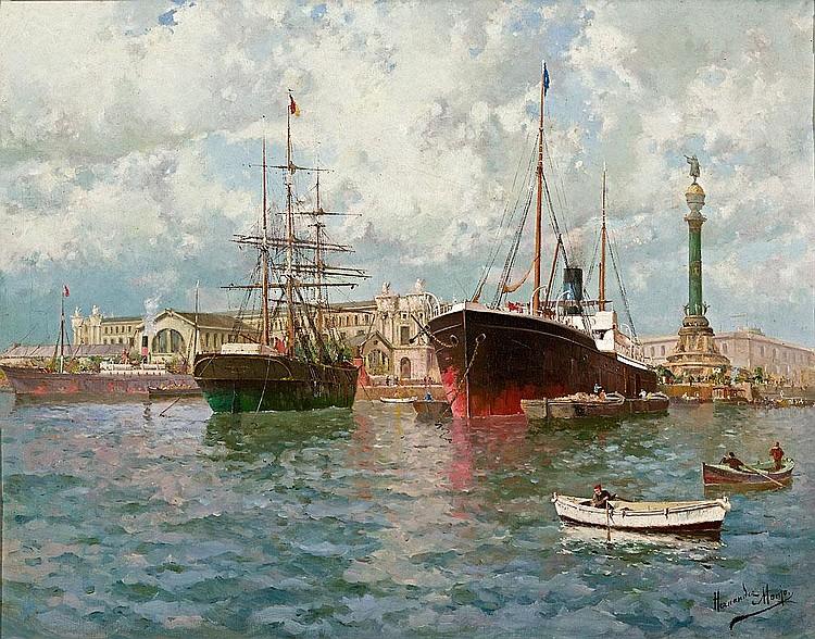 Francesc Hernández Monjo   (Maó 1862 - Barcelona 1957)  Vista del puerto de Barcelona