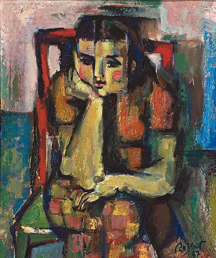 Ramón Rogent   (Barcelona 1920 -1958)  Joven sentada