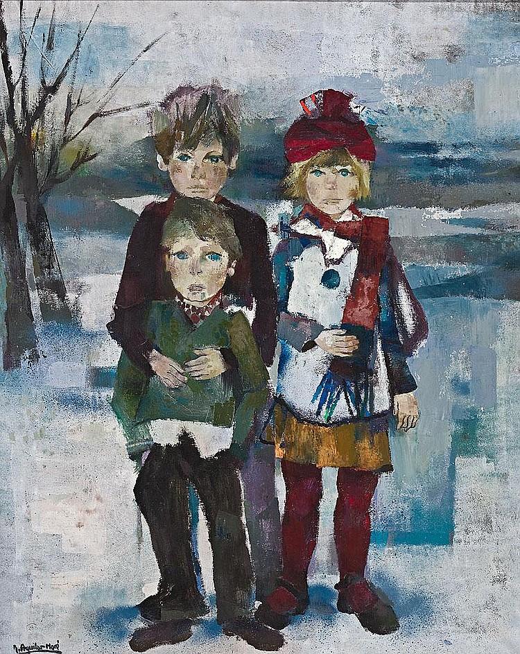 Ramón Aguilar Moré   (Barcelona 1924)  Tres niños