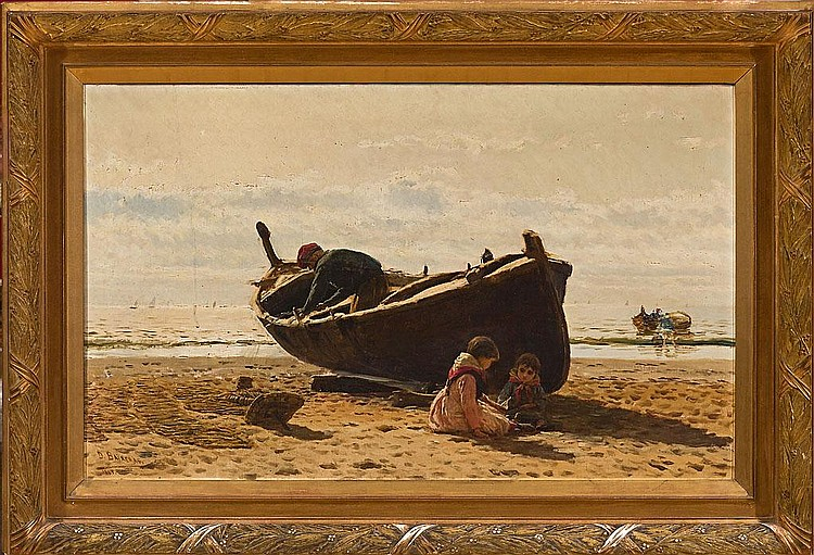 Dionís Baixeras   (Barcelona 1862 - 1943)  Niños en la playa