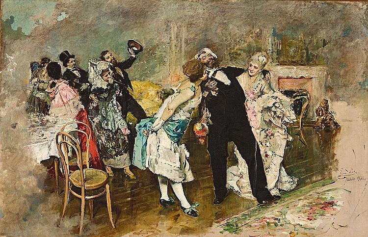 Emilio Sala Francés   (Alcoy 1850 - 1910)  Fiesta de disfraces
