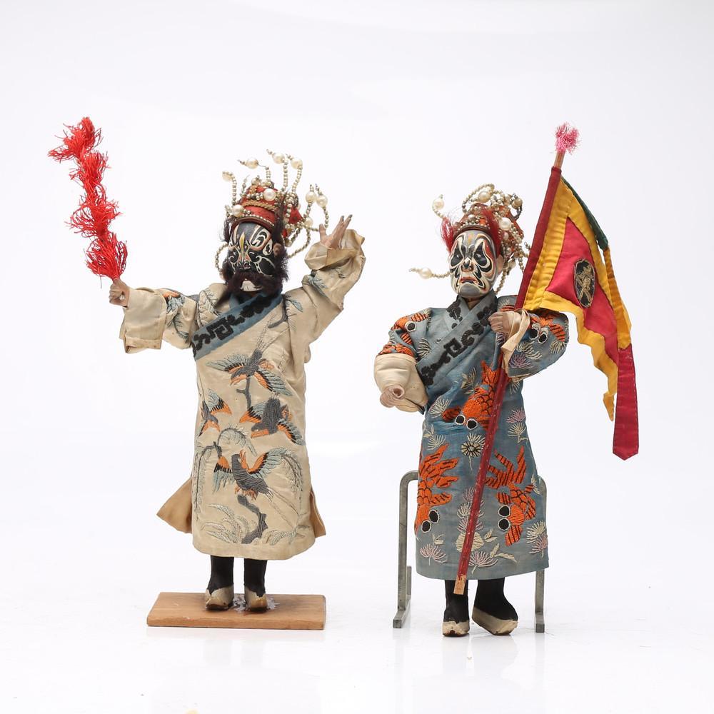 """Jing"", two Chinese opera puppets, 19th Century."