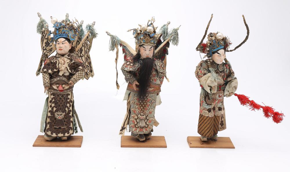 """""""Sheng"""", three Chinese opera puppets, 19th Century."""