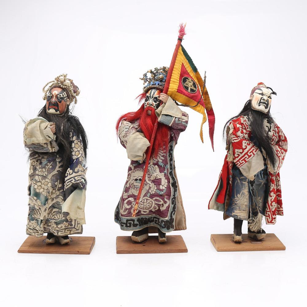 """""""Jing"""", three Chinese opera puppets, 19th Century."""