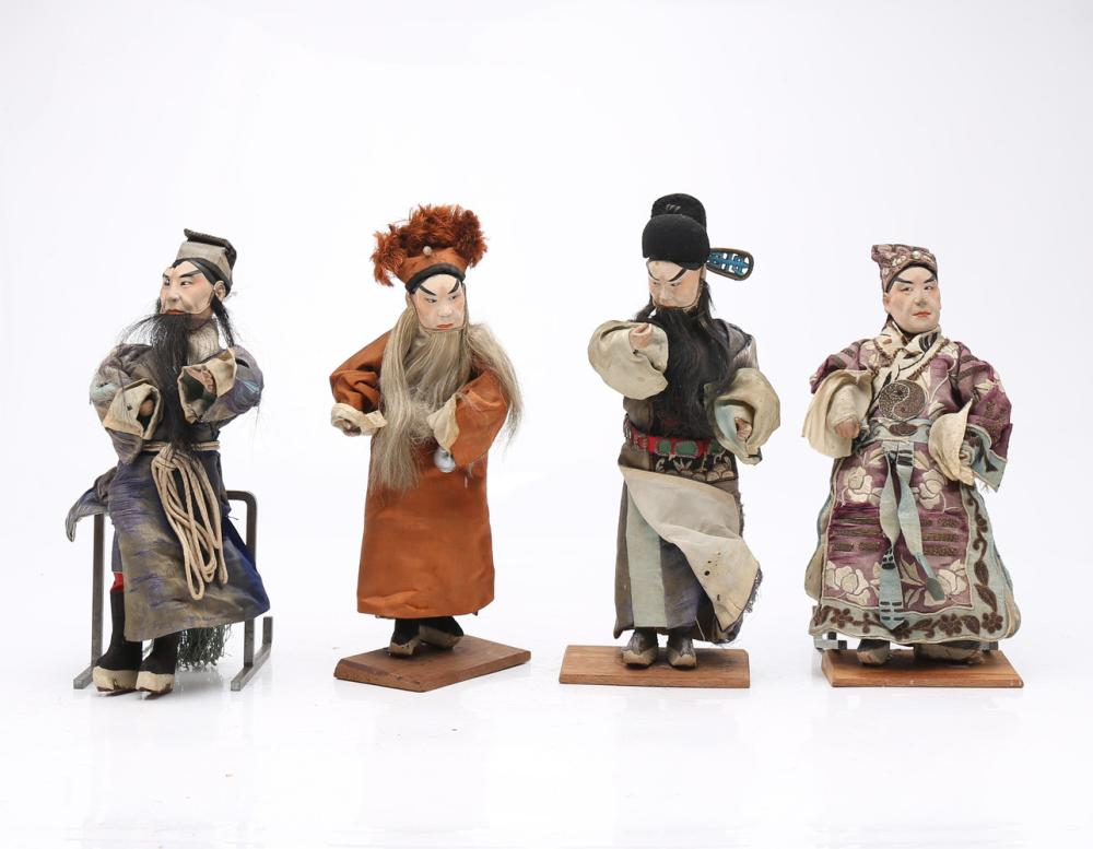 """Sheng"", four Chinese opera puppets, 19th Century."