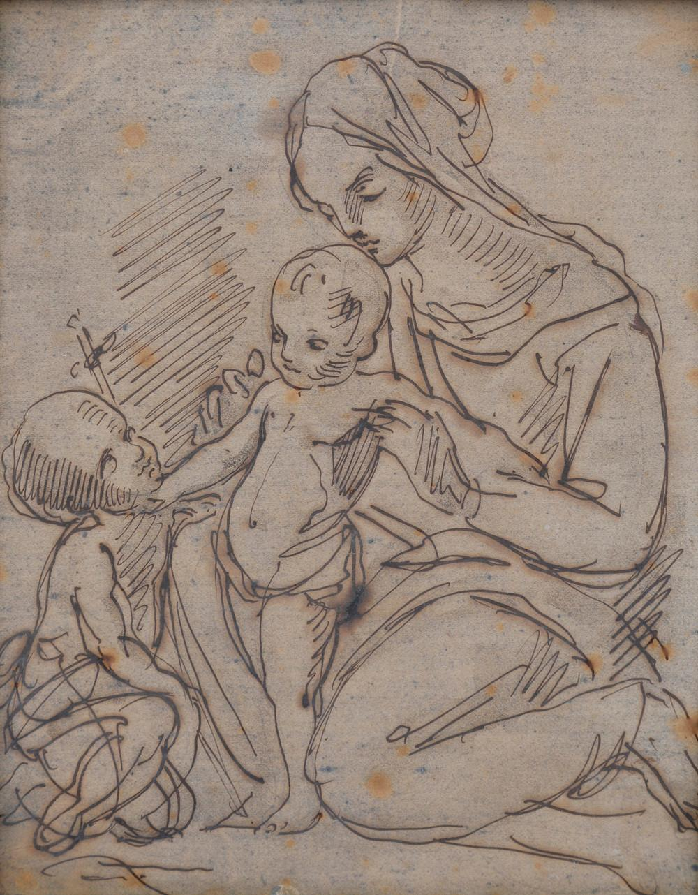 EGISTO ROSSI. Attributed to. The Virgin with the Child and Saint John.