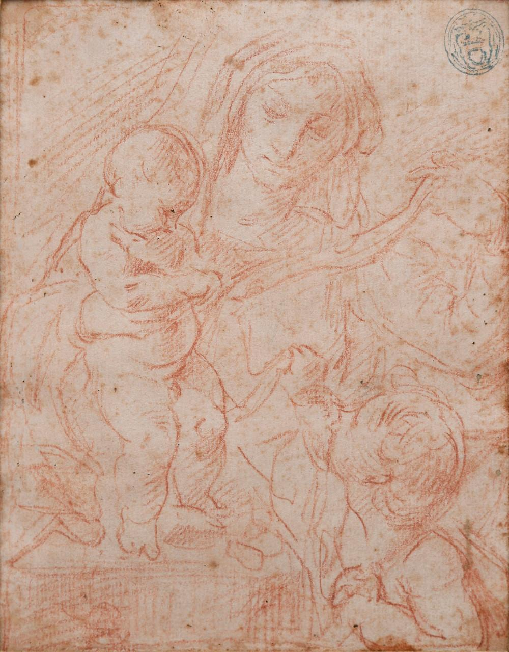 EGISTO ROSSI. Madonna with Child and Saint John.