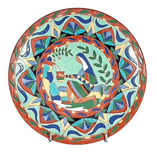 Josep Aragay Barcelona 1889 - Breda 1969 La Fuente Plato en loza de arista esmaltada