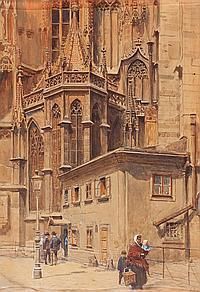 Ernst Graner Werdau 1865 - Viena 1943 Iglesia de San Esteban, Viena Acuarela sobre papel