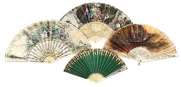 Cuatro abanicos Luis XV, Luis XVI, Imperio e Isabelino con varillajes de marfil, hueso y nácar, de finales del siglo XVIII-principio...
