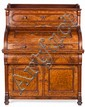 Buró cilíndrico victoriano en caoba y raíz de nogal, de mediados del siglo XIX