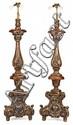 Pareja de torcheros en madera tallada y plateada, de principios del siglo XX