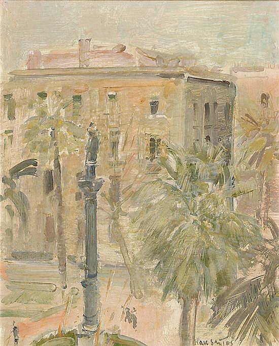 Julián Grau Santos Canfranc 1937 Plaza de Medinaceli, Barcelona Óleo sobre cartón