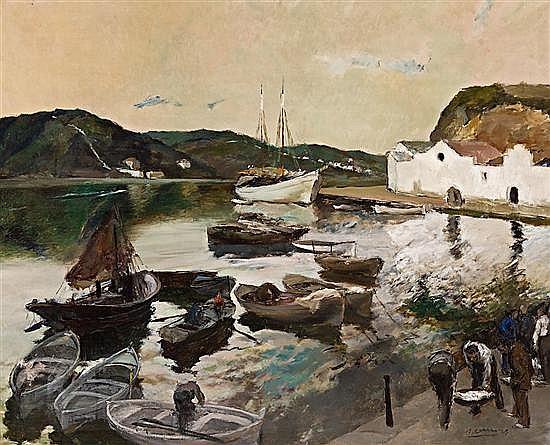Ricard Arenys Galdón Barcelona 1914 - 1977 Vista del puerto de Mahón Óleo sobre lienzo
