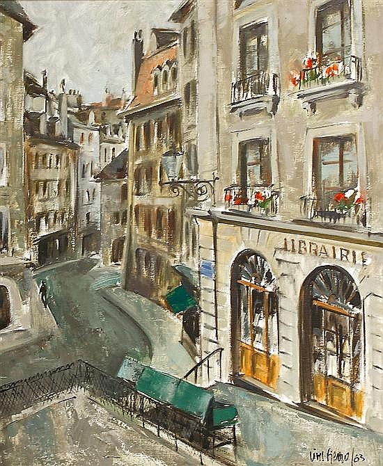 Antoni Vives Fierro Barcelona 1940. Vista urbana Óleo sobre lienzo