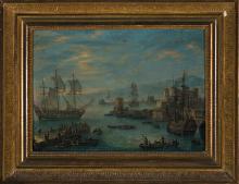 Attributed to Orazio Grevenbroeck Paris 1670 - 1730 Harbour view