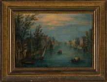 Attributed to Orazio Grevenbroeck Paris 1670 - 1730 View of a canal