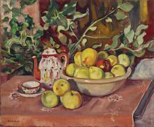 """Francesc Domingo Segura Barcelona 1893 - Sao Paulo 1974 """"Bodegón con frutas y cafetera"""""""