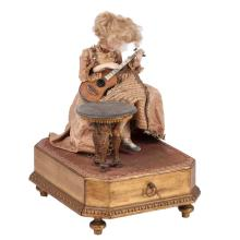 Antique music doll playing on Guitar on stand
