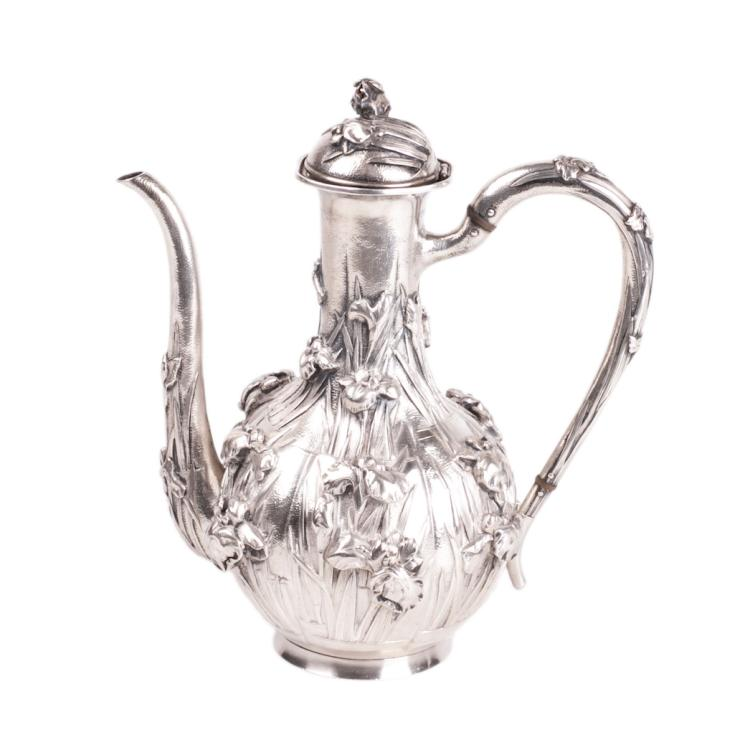 Antique Japan silver coffee pot with flower motifs