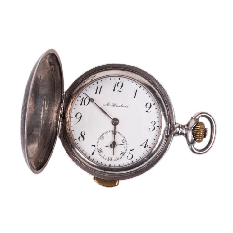 Silver pocket watch A.Bruderer with a quarter repeater
