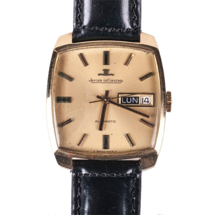 Jaeger Le Coultre rectangular automatic gold wristwatch