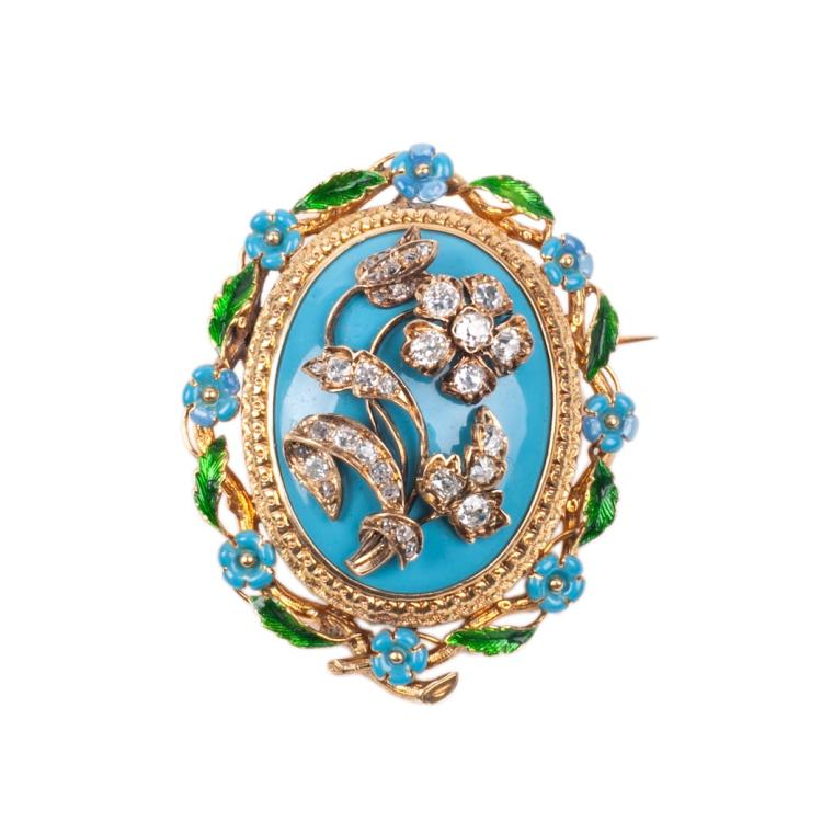 Antique French 18K gold brooch with diamonds and enamel