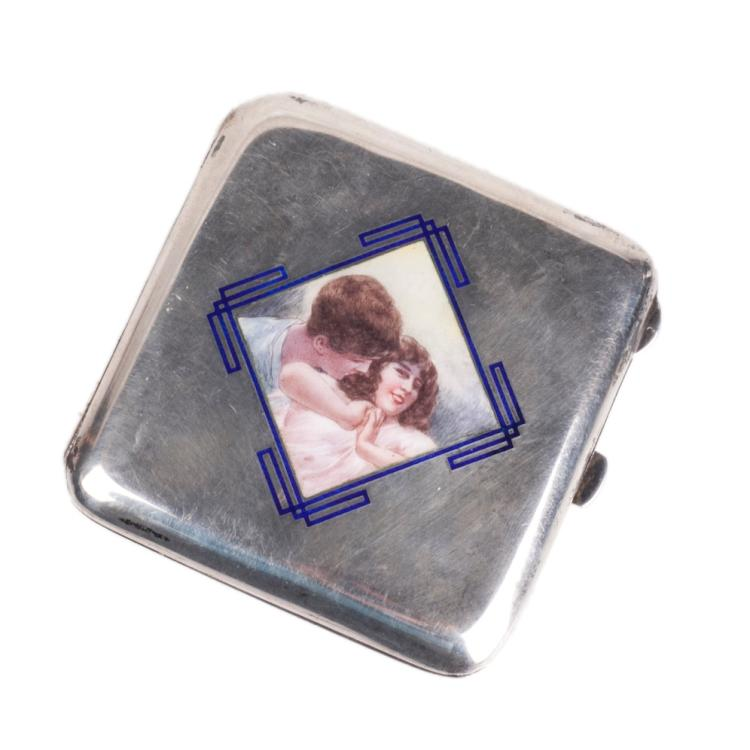 Silver  cigarette case with color enamel with portraits