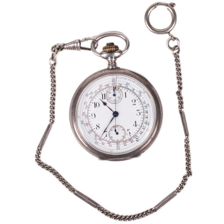 Silver chronograph pocket watch