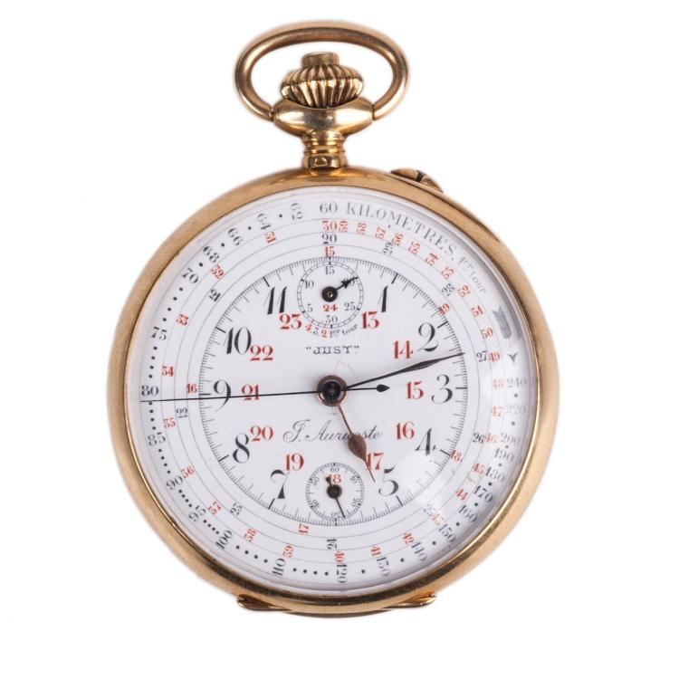 Gold chronograph pocket watch