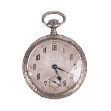 Metal pocket watch with hunting scene