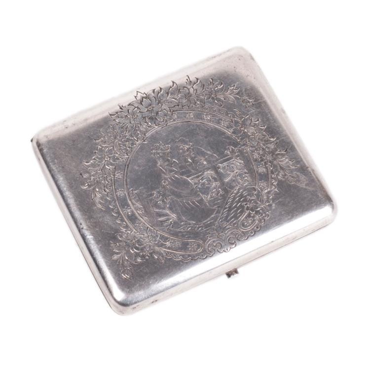 Antique silver cigarette case coat of arms of Libau