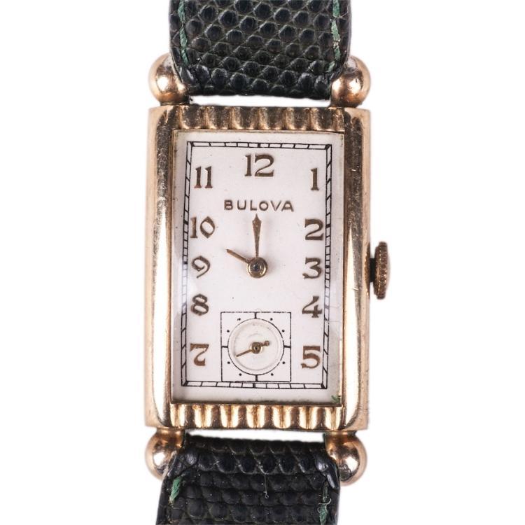Bulova 14K gold filled rectangular men's wristwatch