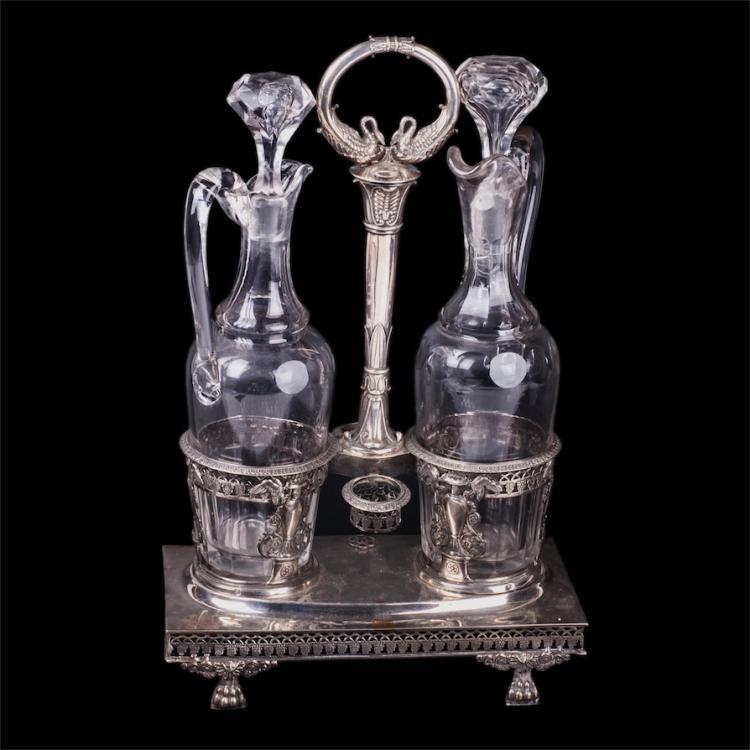 Antique French silver cruet stand