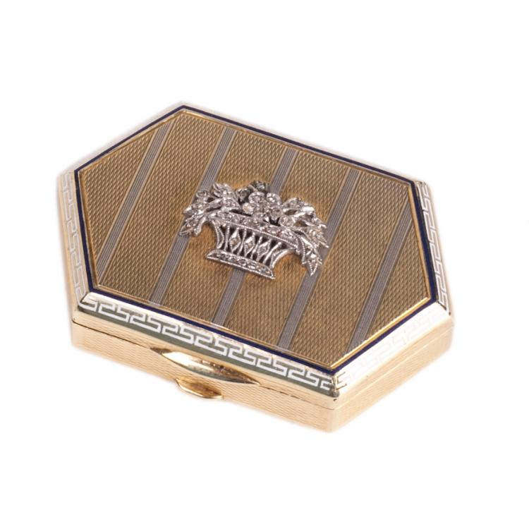 Small 18K gold and enamel box for pills with diamonds