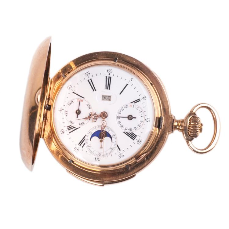 18K gold Le Coultre grand complication pocket watch