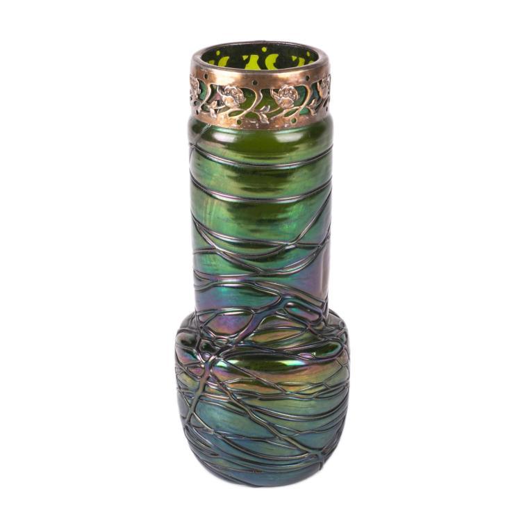 Antique Loetz Art nouveau green glass vase
