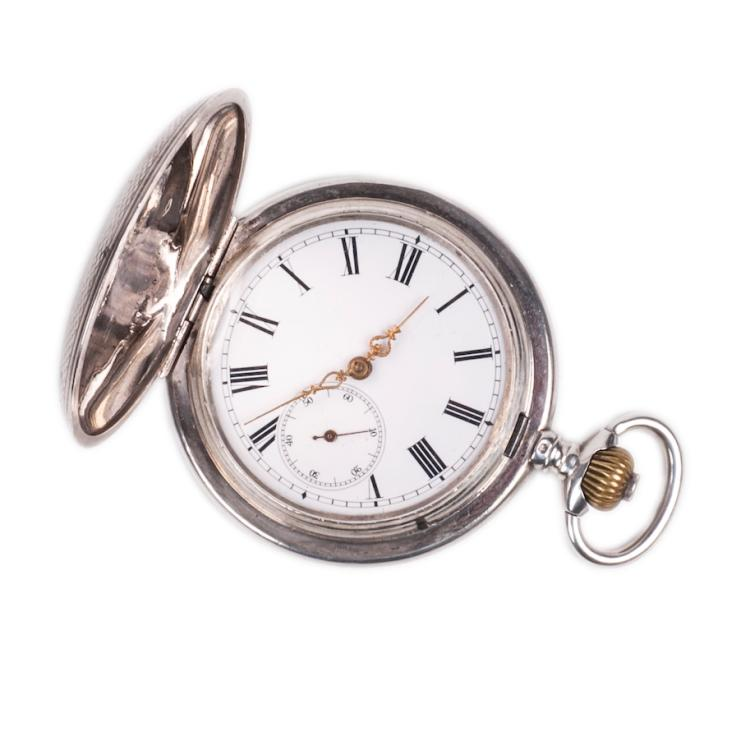Silver hunter case pocket watch