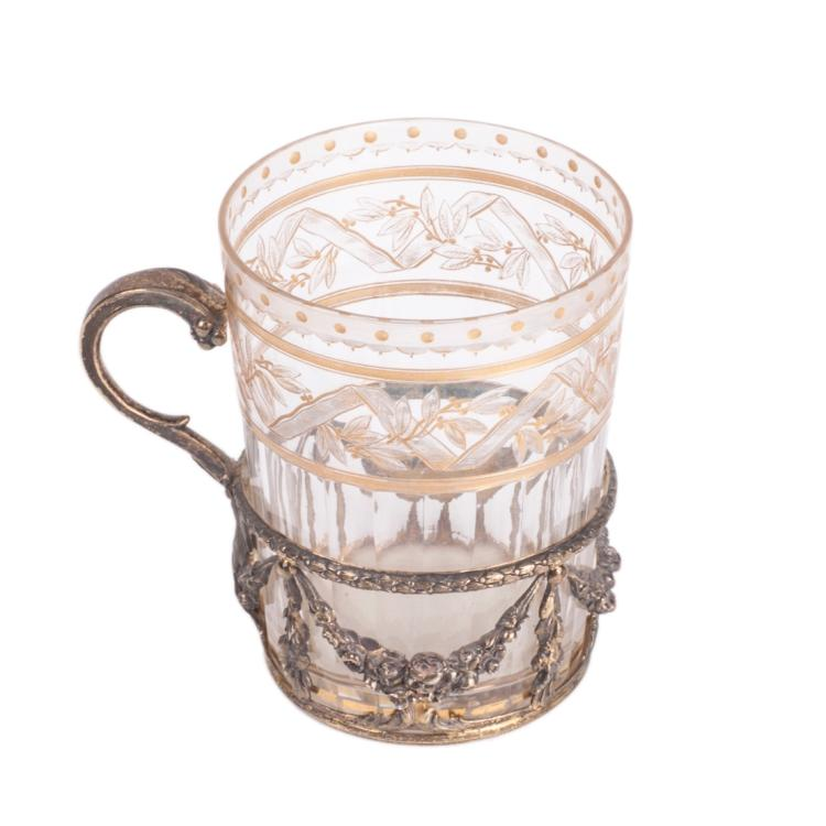 Antique French silver-gilt and tea holder with a glass