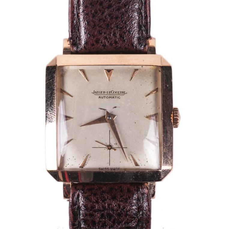 Jaeger Le Coultre rectangular gold automatic wristwatch