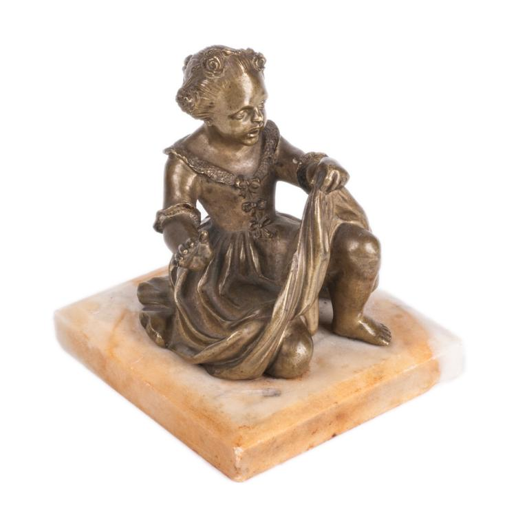 Bronze French figure of a girl on a marble stand