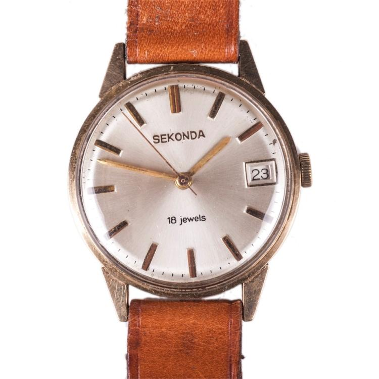 Sekonda gold mechanical men's wristwatch with calendar