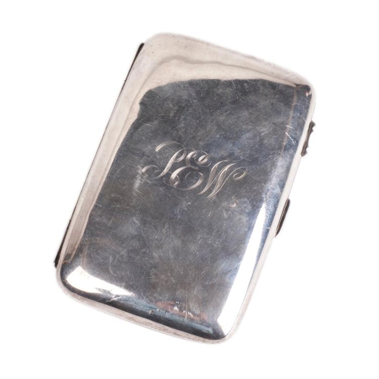 English sterling silver cigarette case with engraved initials