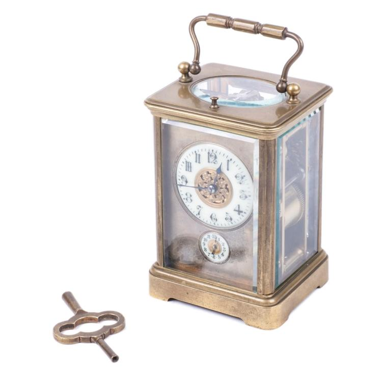 French carriage clock with a quarter repeater and alarm