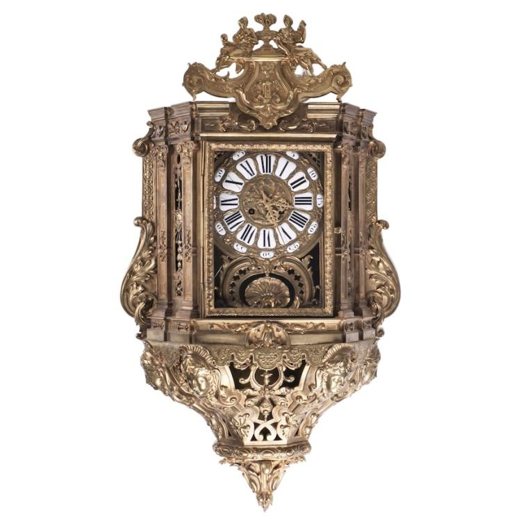 Antique huge beautiful bronze wall clock