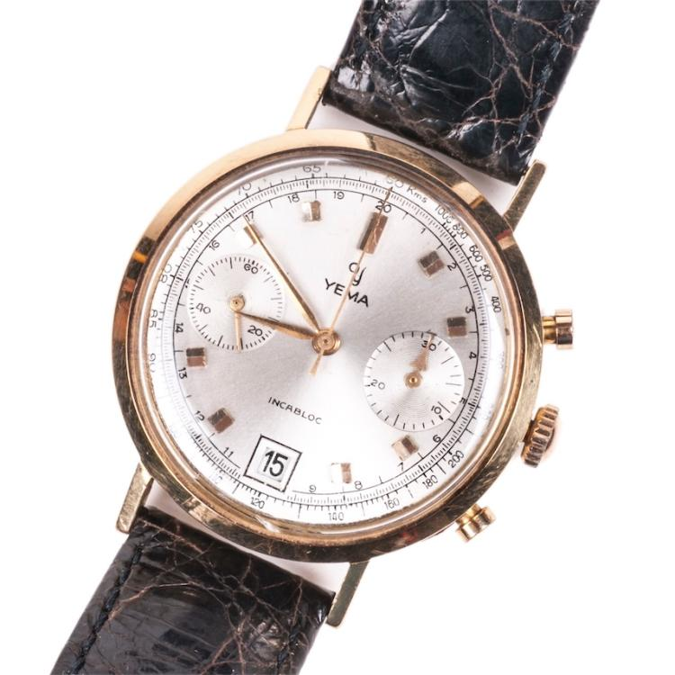 Yema 18K gold men's chronograph wristwatch with calendar